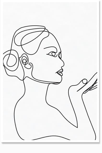 Minimal Line Art Lady