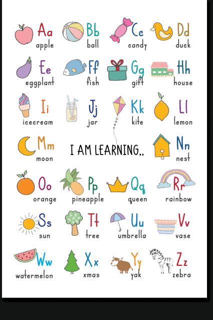 Learn the Alphabet Educational Reading Framed Poster 12x18