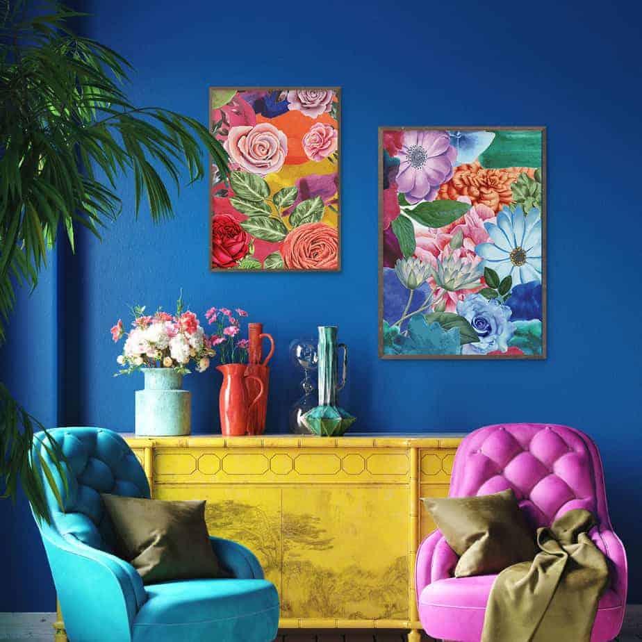 floral botanical wall art super colorful wall art