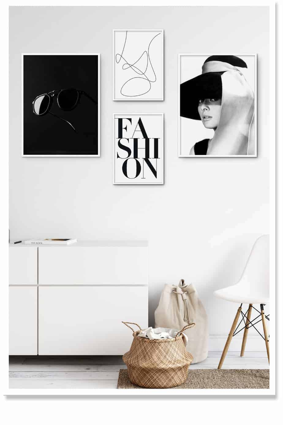 wall art arrangement black and white