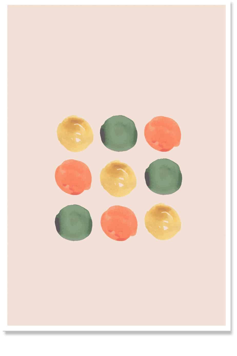 green orange dot wall art set