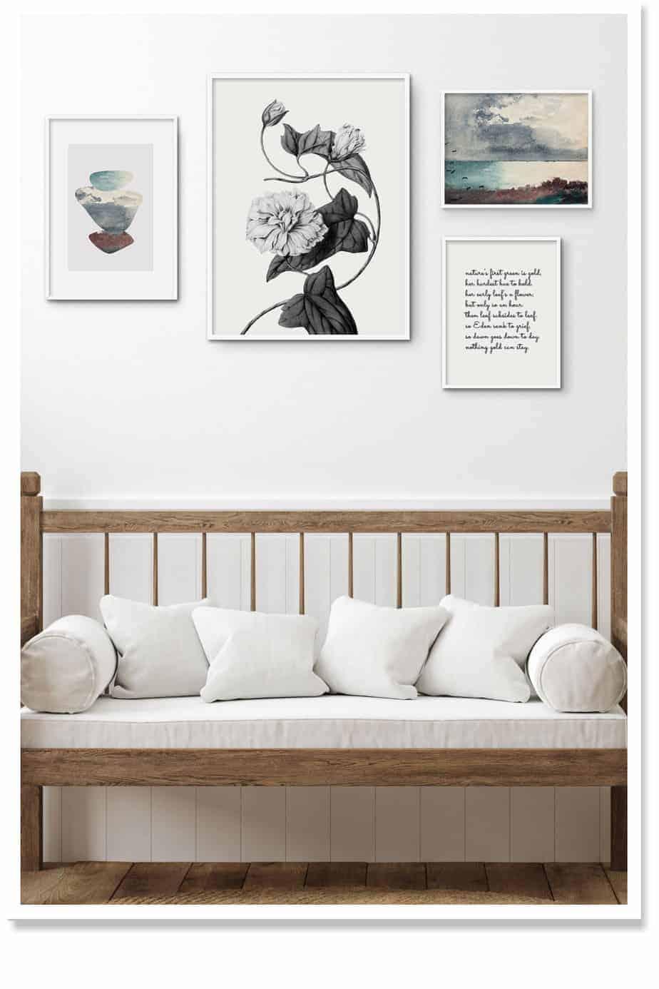 Four piece wall art arrangement for modern decor