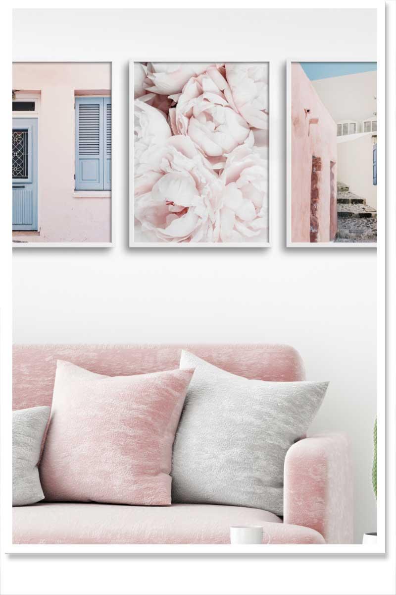 rose quartz wall art sets