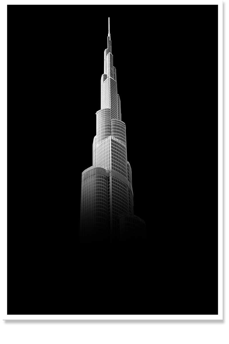 Black and whit burj khalifa
