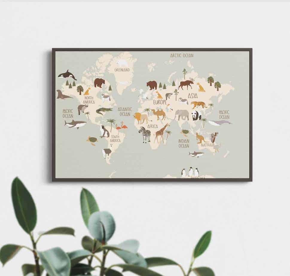 animal world map room decor