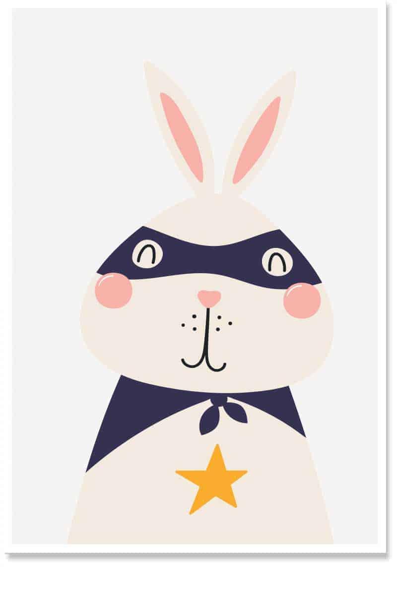 super bunny kids wallart