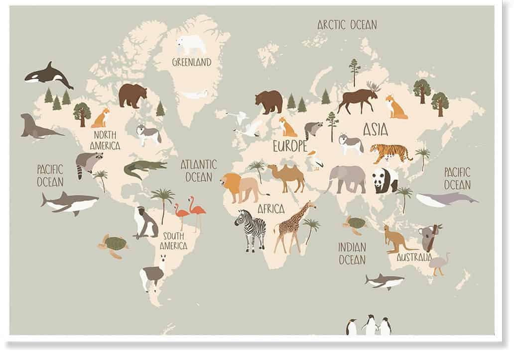 animal world map wallart