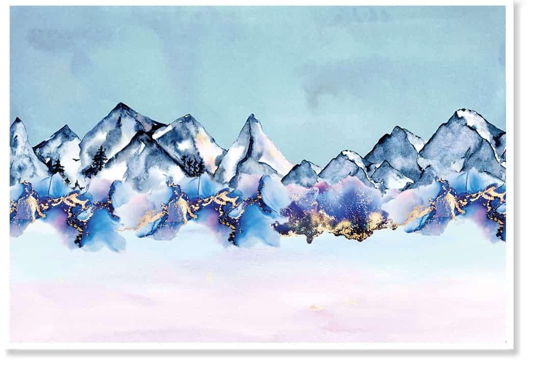 aqua mountain artwork
