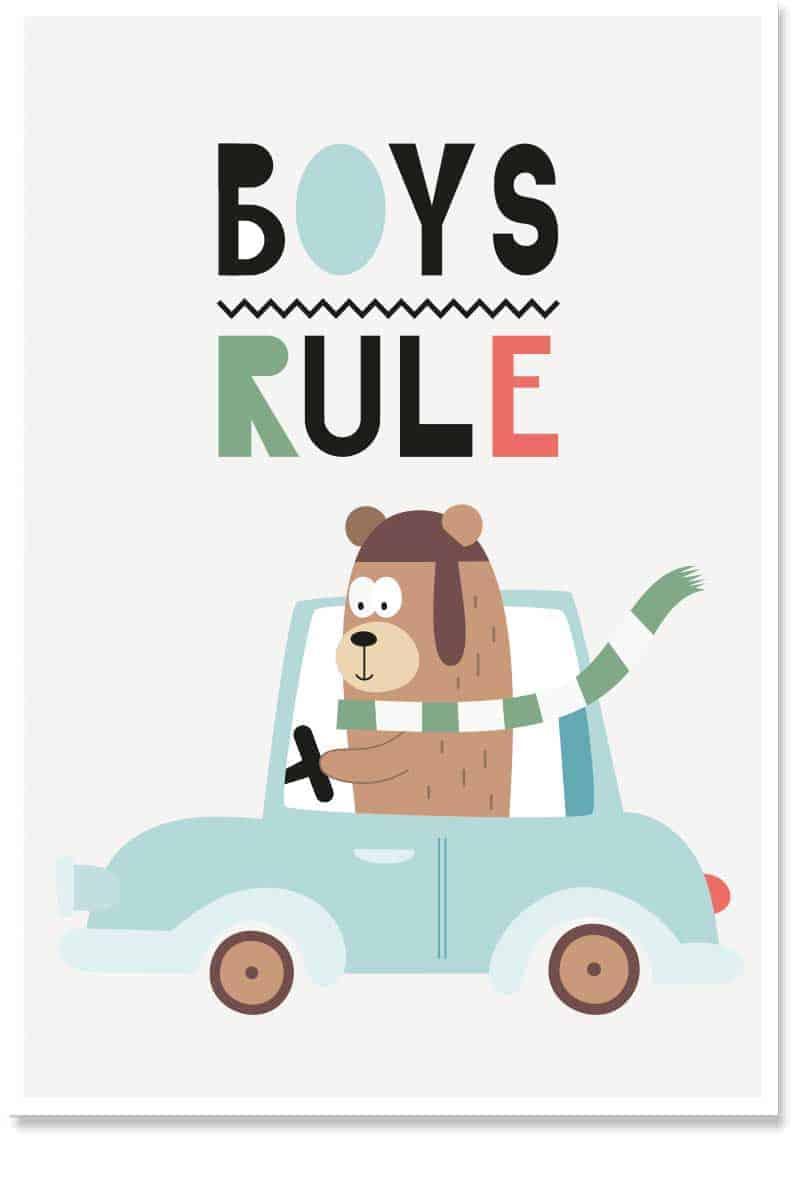 boys rule wallart
