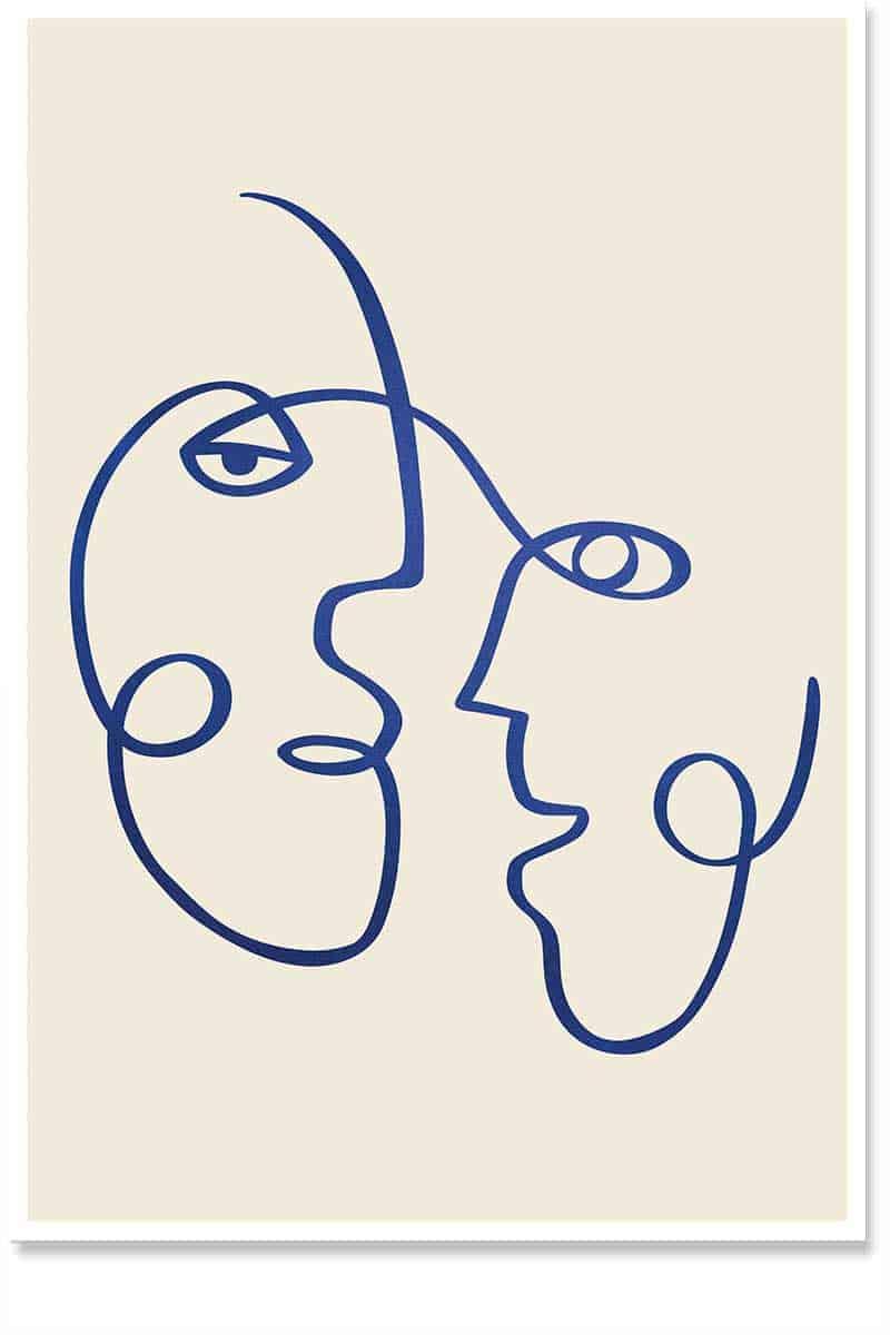 face-off line art