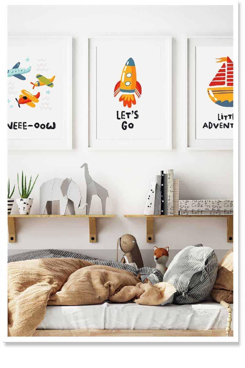Little Adventurer 3pc Kids room wall art