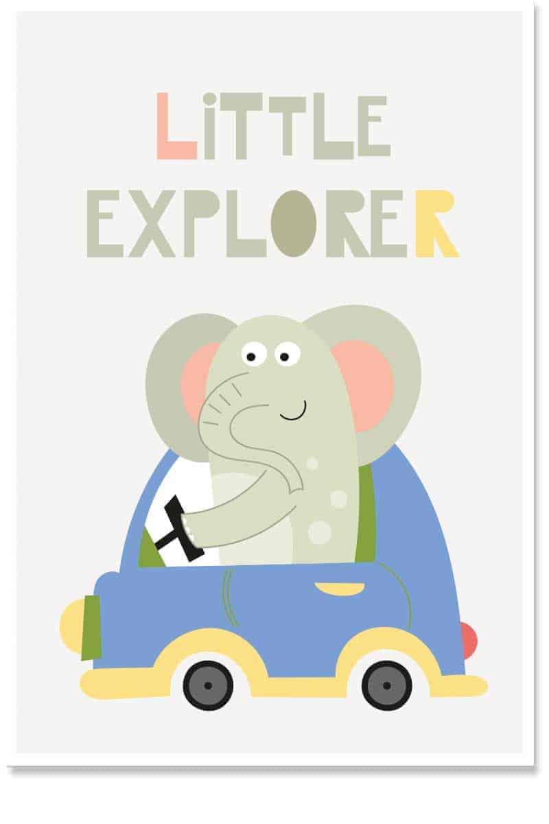 little explorer kids wallart