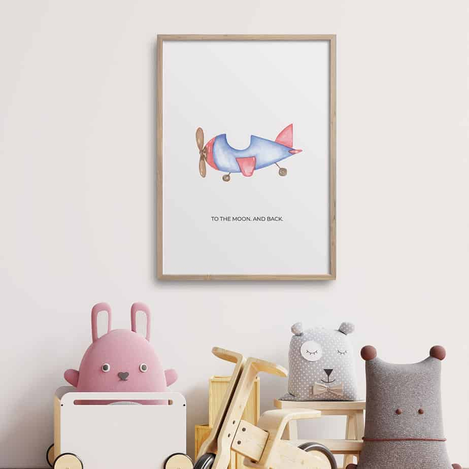 to the moon and back wallart