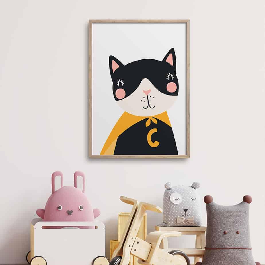 superhero kitten wallart
