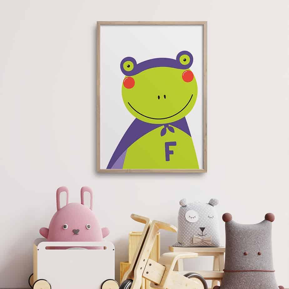 superhero frog wallart